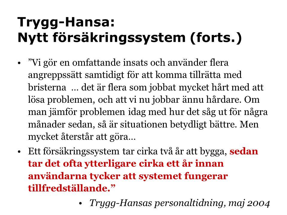 Trygg-Hansa: Nytt försäkringssystem (forts.)