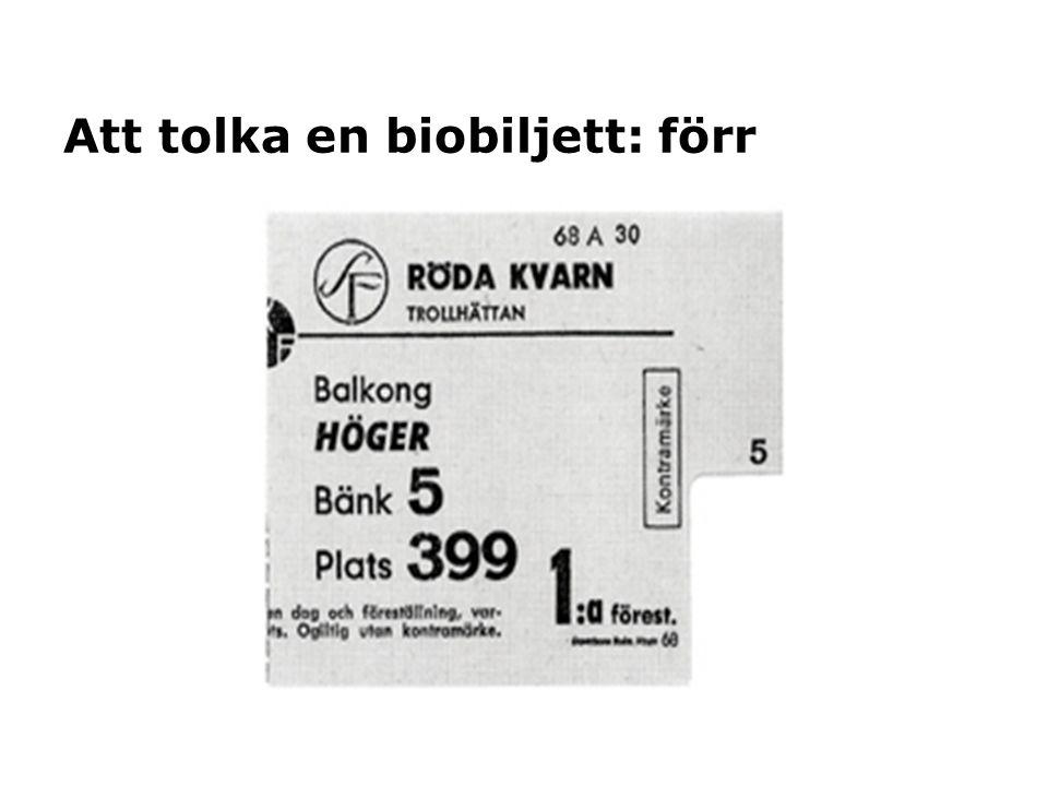 Att tolka en biobiljett: förr