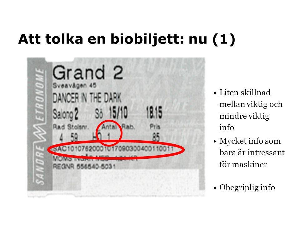 Att tolka en biobiljett: nu (1)