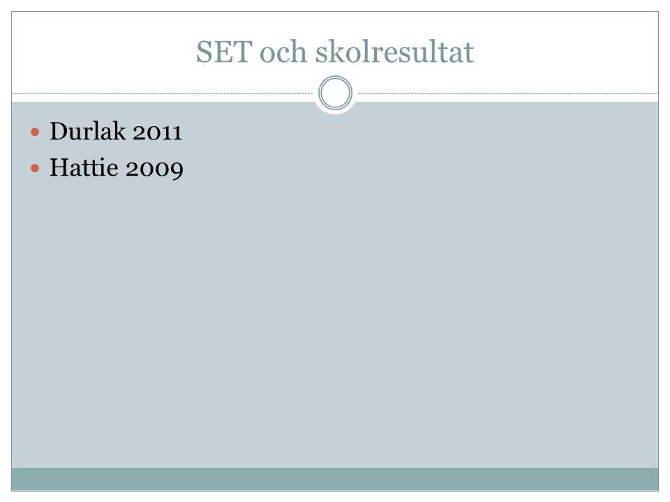 SET och skolresultat Durlak 2011 Hattie 2009