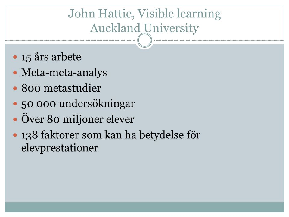 John Hattie, Visible learning Auckland University