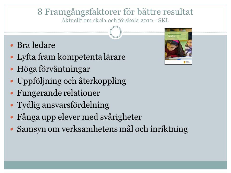 8 Framgångsfaktorer för bättre resultat Aktuellt om skola och förskola 2010 - SKL