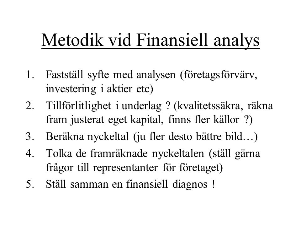 Metodik vid Finansiell analys