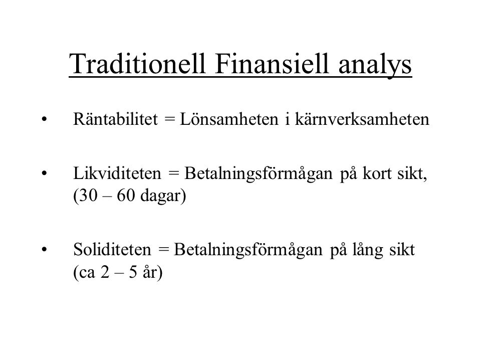 Traditionell Finansiell analys