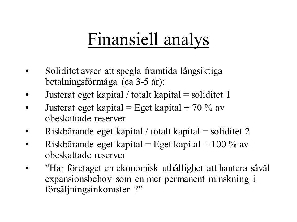 Finansiell analys Soliditet avser att spegla framtida långsiktiga betalningsförmåga (ca 3-5 år):