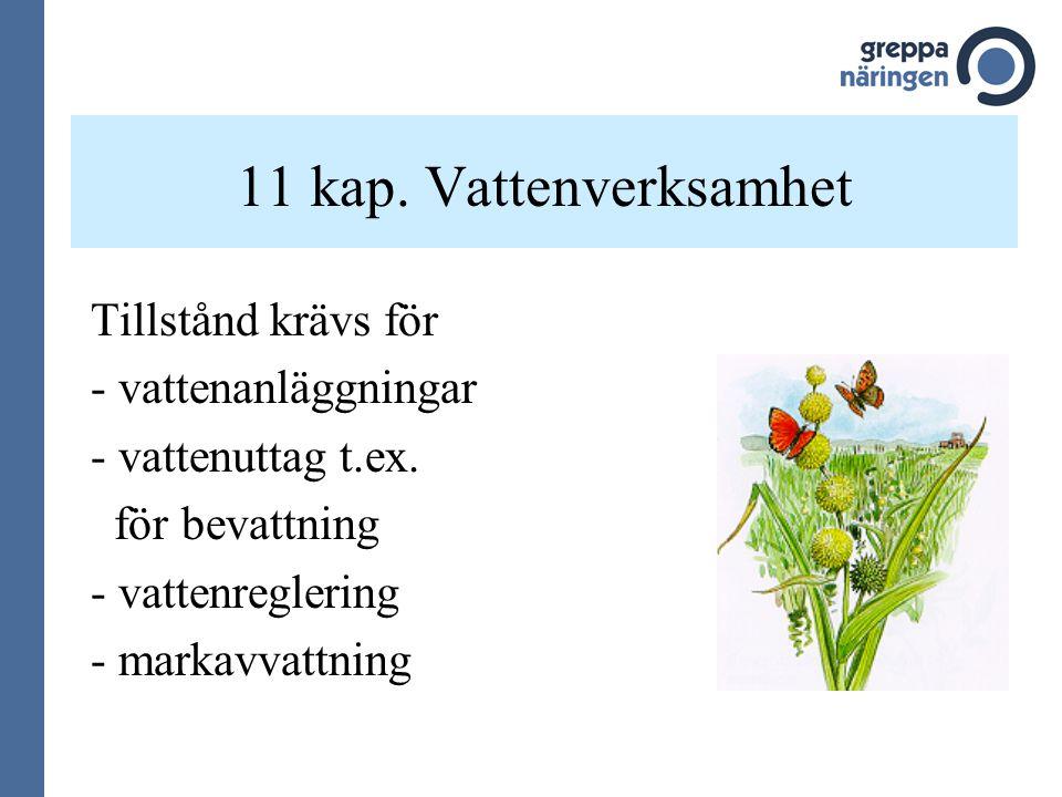 11 kap. Vattenverksamhet Tillstånd krävs för - vattenanläggningar