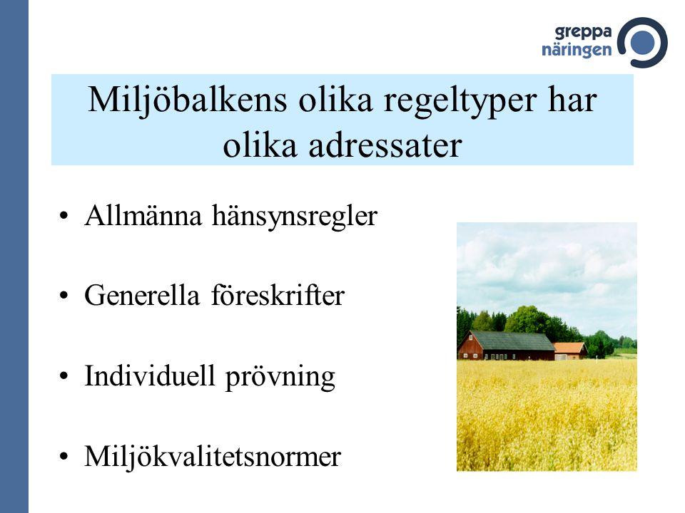 Miljöbalkens olika regeltyper har olika adressater
