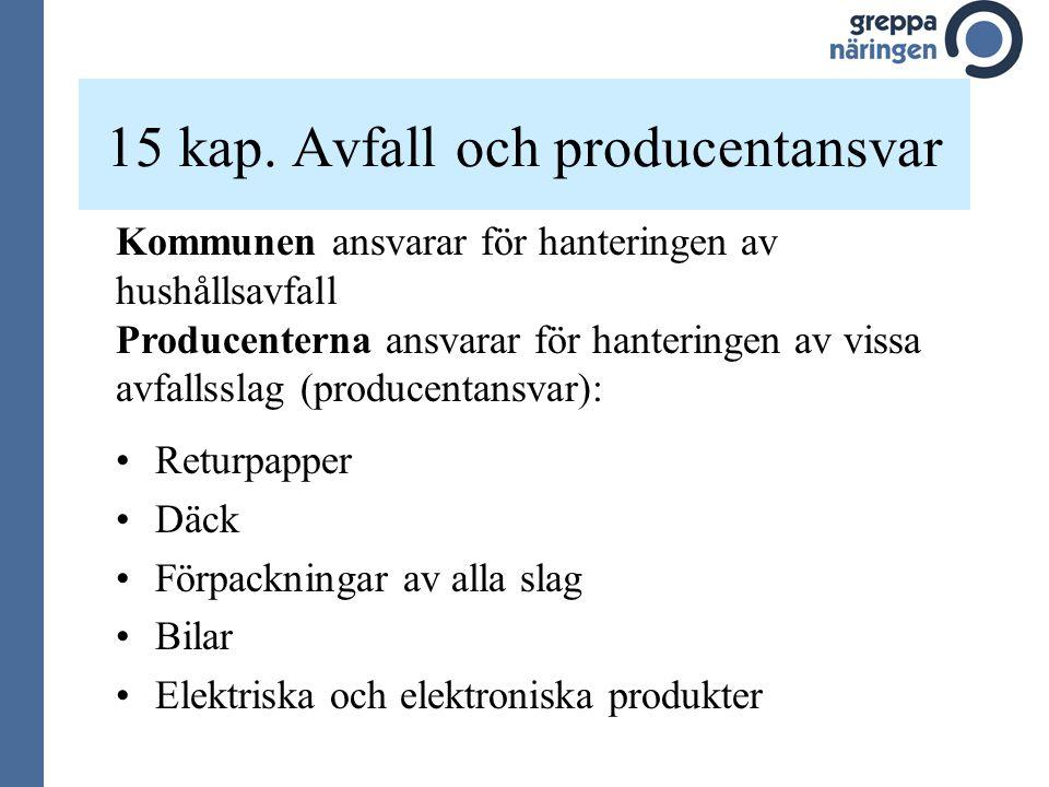 15 kap. Avfall och producentansvar