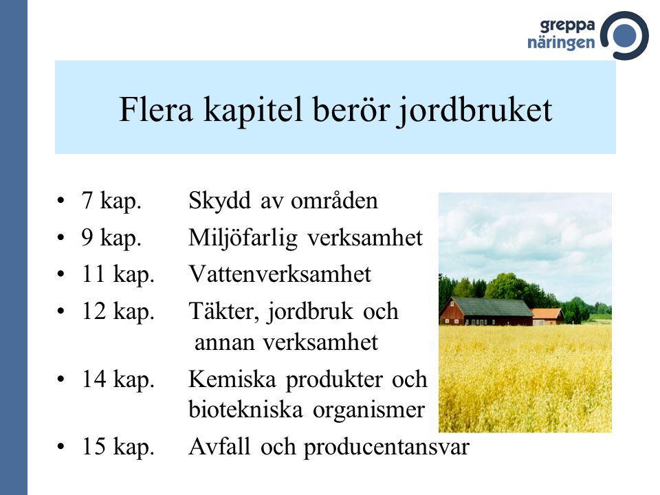 Flera kapitel berör jordbruket
