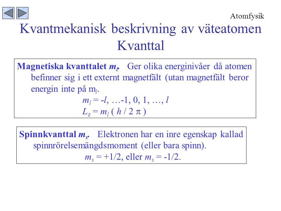 Kvantmekanisk beskrivning av väteatomen Kvanttal