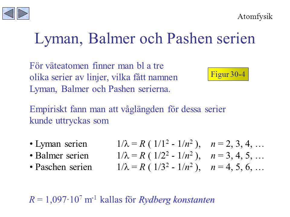 Lyman, Balmer och Pashen serien