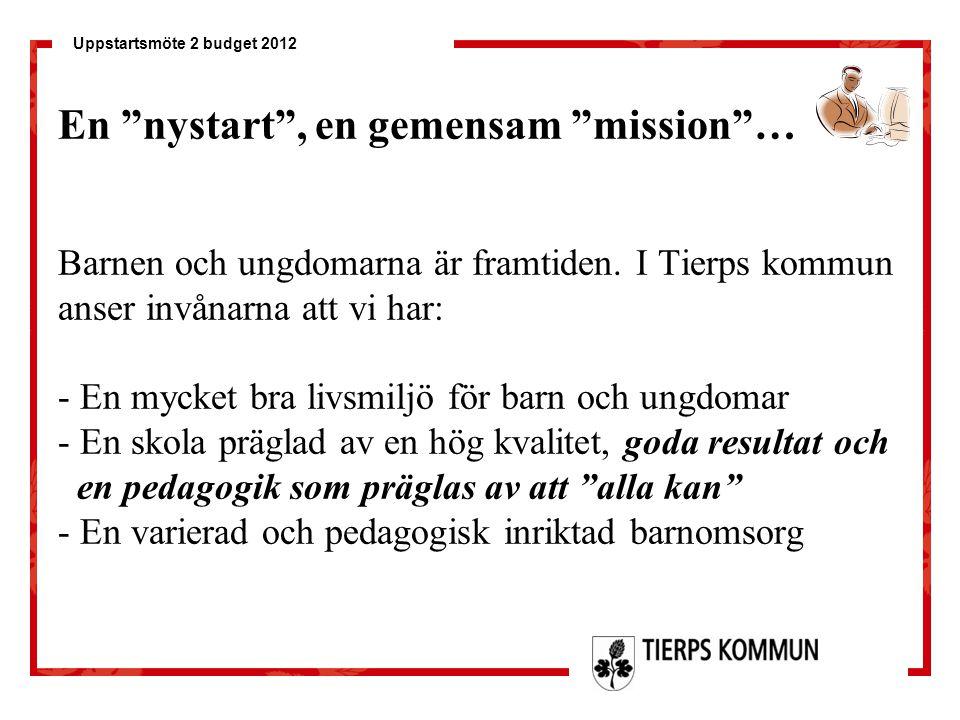 En nystart , en gemensam mission … Barnen och ungdomarna är framtiden.