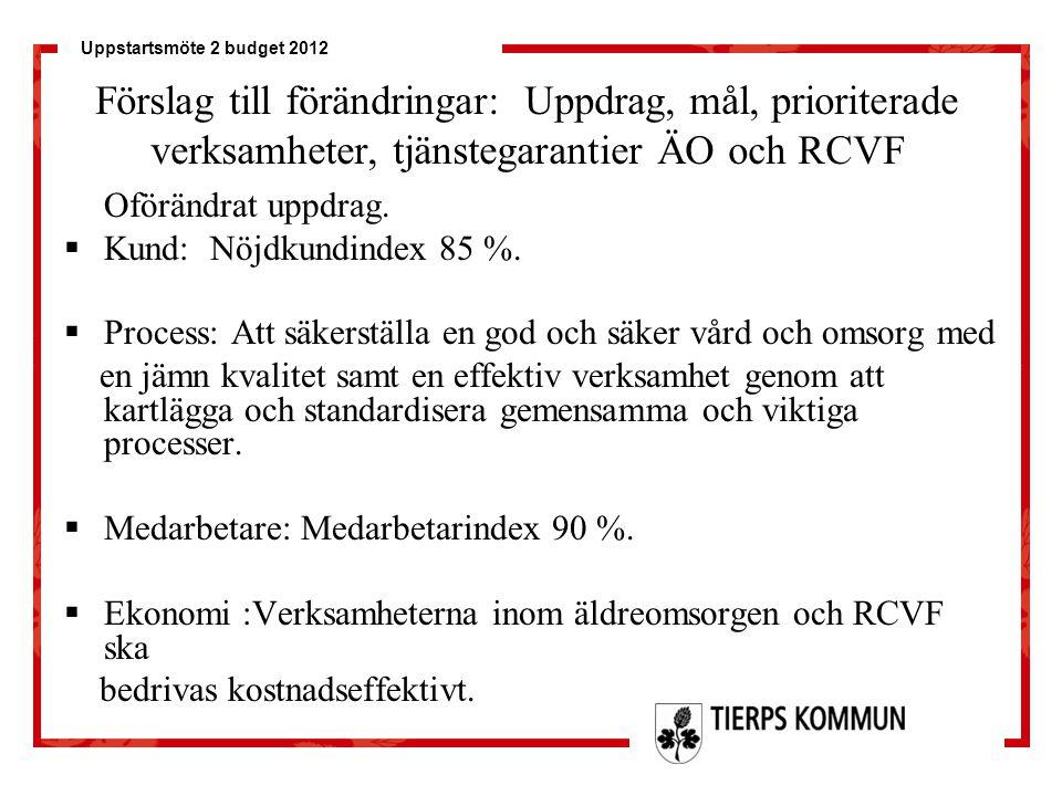 Förslag till förändringar: Uppdrag, mål, prioriterade verksamheter, tjänstegarantier ÄO och RCVF