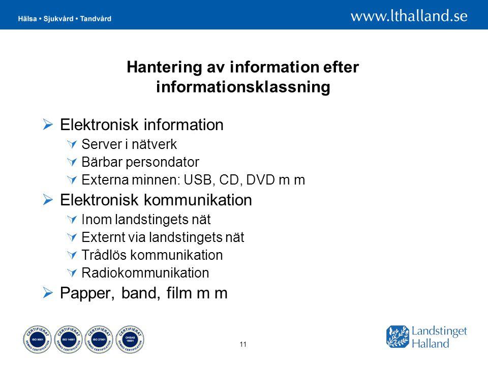 Hantering av information efter informationsklassning