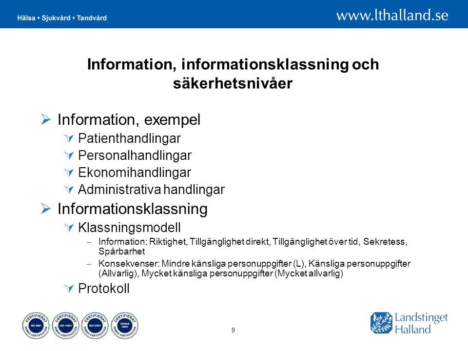 Information, informationsklassning och säkerhetsnivåer