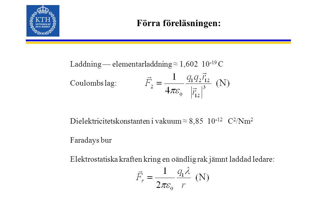 Förra föreläsningen: Laddning — elementarladdning ≈ 1,602 10-19 C