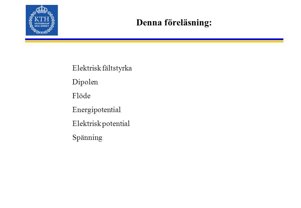 Denna föreläsning: Elektrisk fältstyrka Dipolen Flöde Energipotential