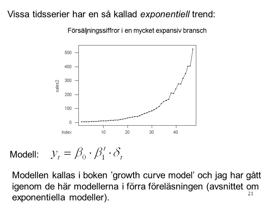 Vissa tidsserier har en så kallad exponentiell trend: