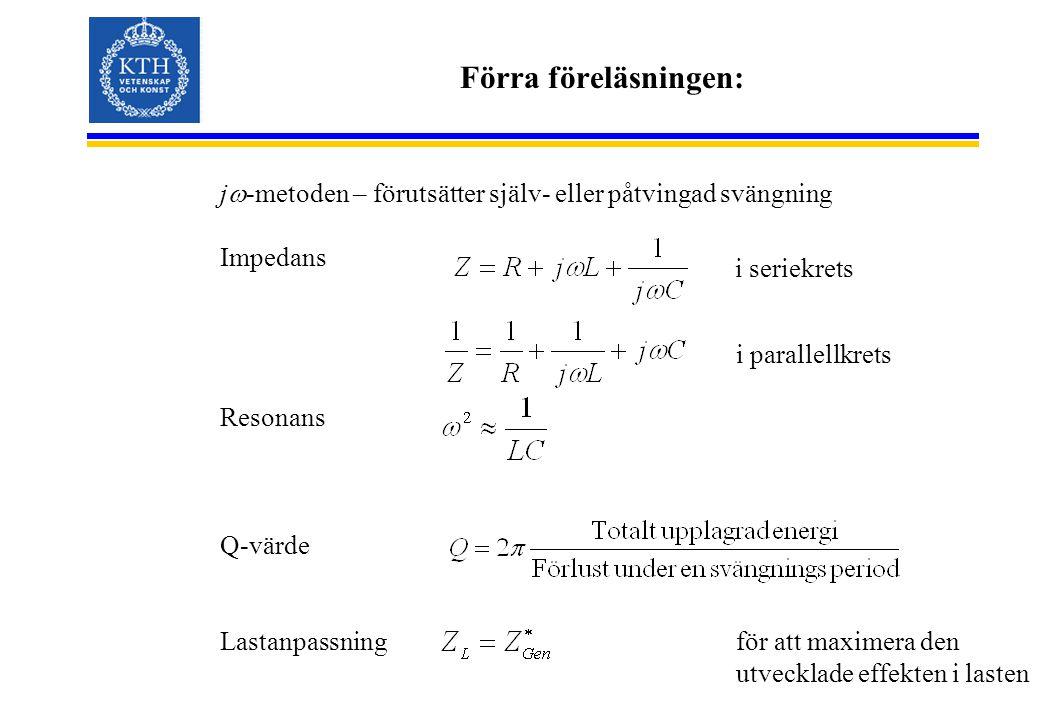 Förra föreläsningen: jw-metoden – förutsätter själv- eller påtvingad svängning. Impedans. Resonans.