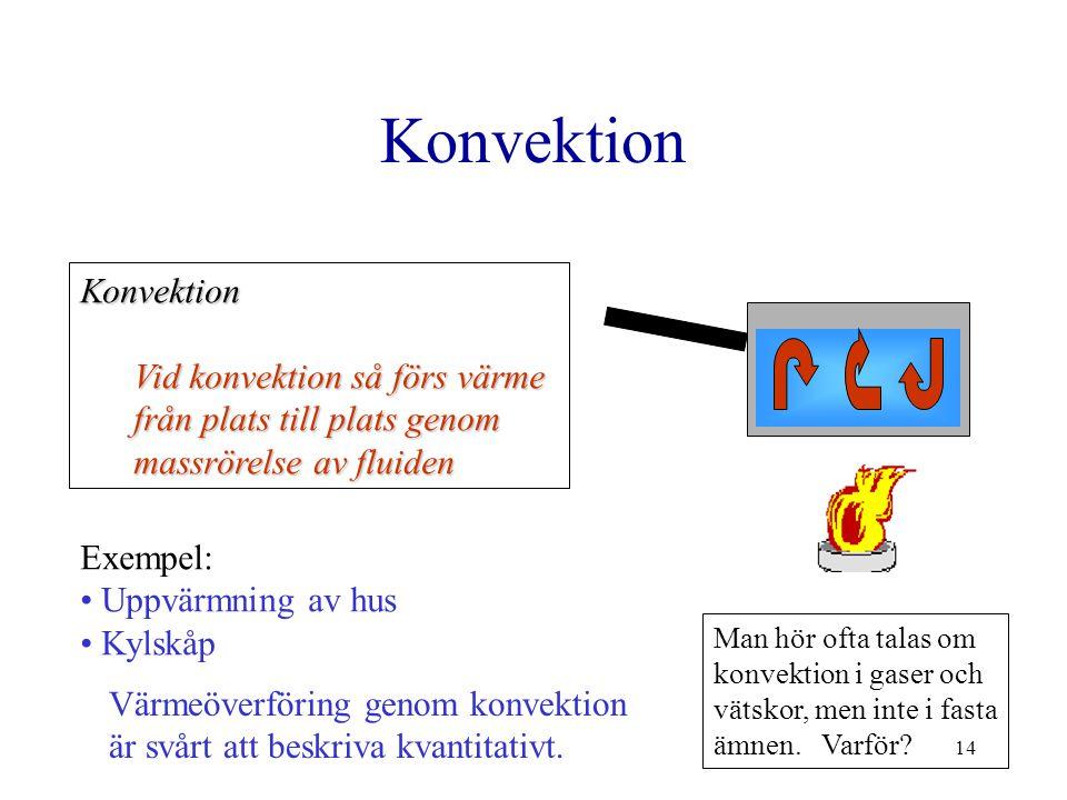 Konvektion Konvektion Vid konvektion så förs värme