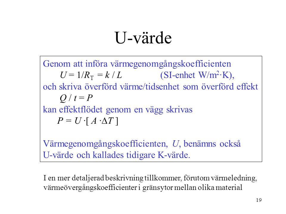 U-värde Genom att införa värmegenomgångskoefficienten