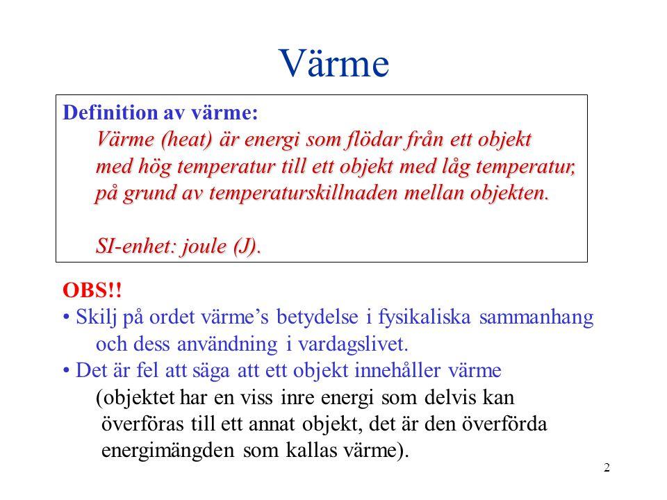 Värme Definition av värme: