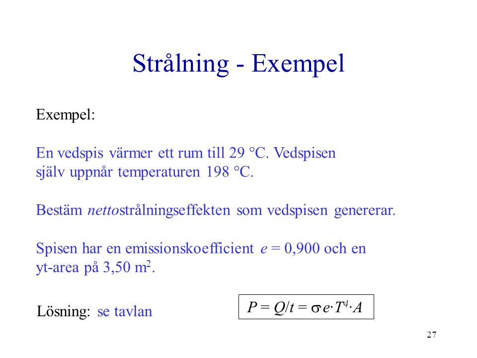 Strålning - Exempel Exempel: