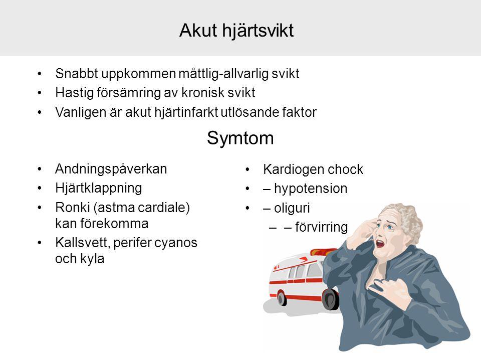Akut hjärtsvikt Symtom Snabbt uppkommen måttlig-allvarlig svikt