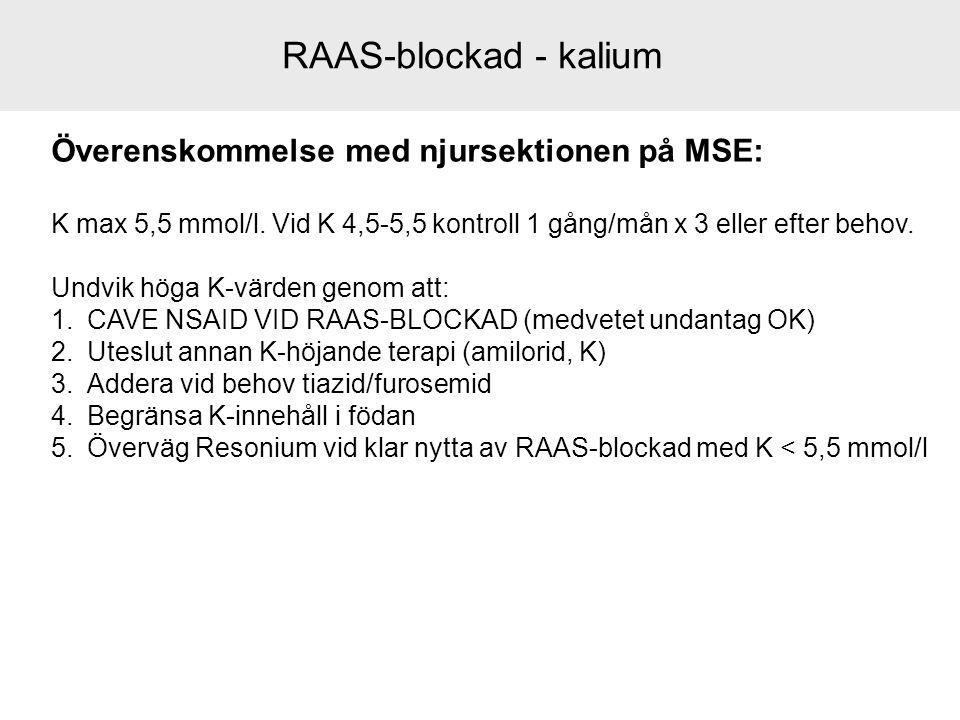 RAAS-blockad - kalium Överenskommelse med njursektionen på MSE: