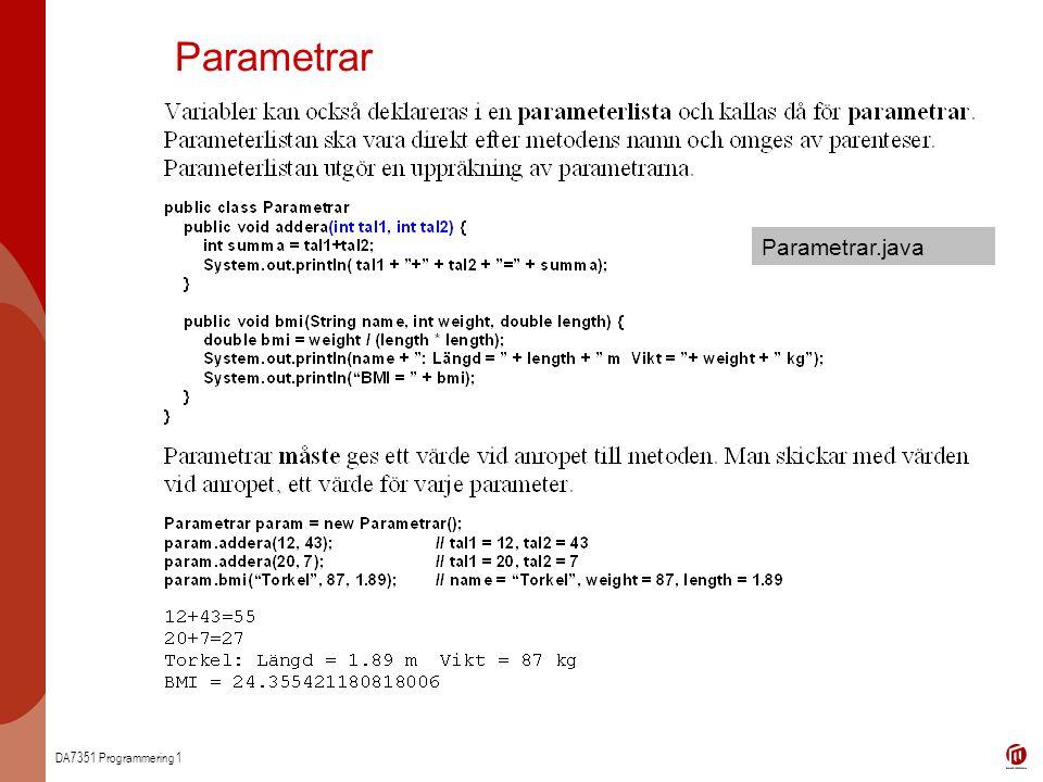 Parametrar Parametrar.java