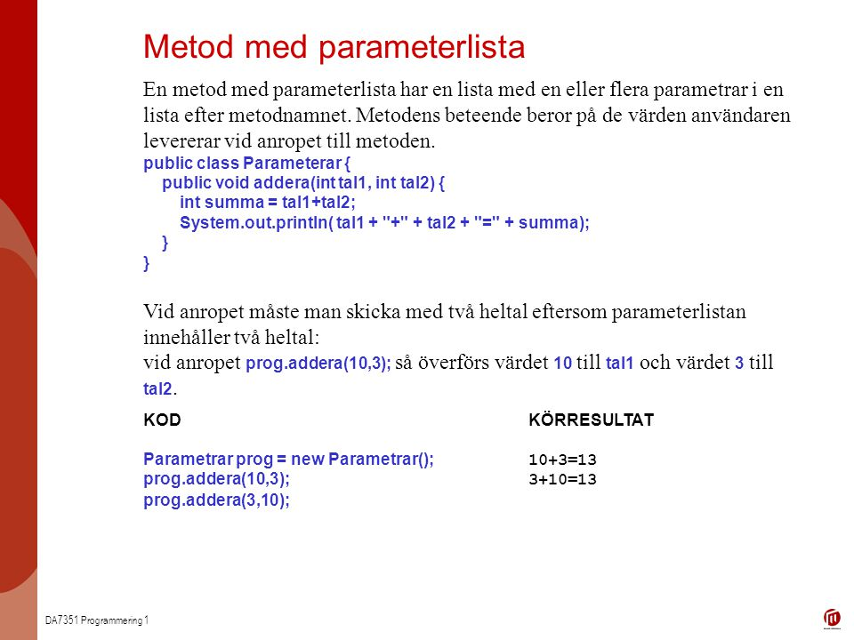 Metod med parameterlista