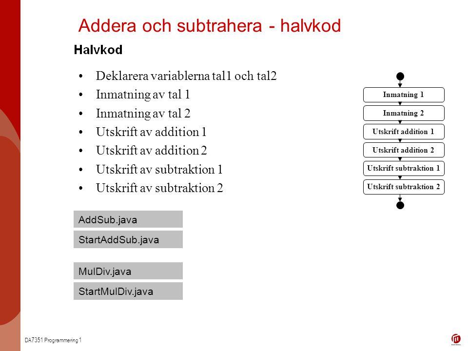 Addera och subtrahera - halvkod