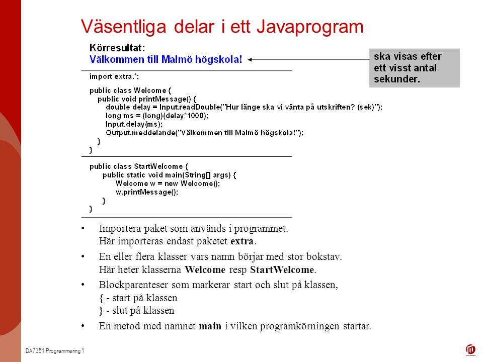 Väsentliga delar i ett Javaprogram