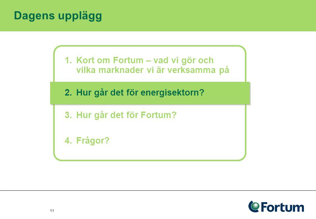 Dagens upplägg Kort om Fortum – vad vi gör och vilka marknader vi är verksamma på. Hur går det för energisektorn