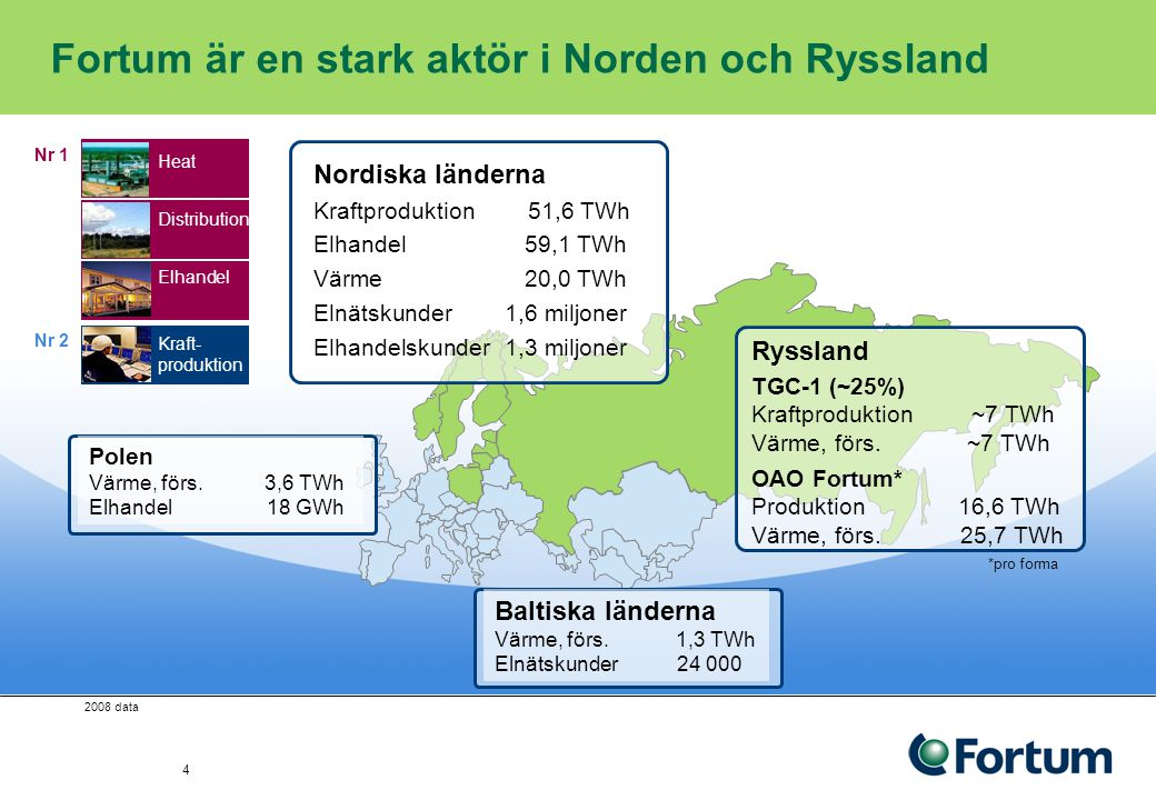 Fortum är en stark aktör i Norden och Ryssland