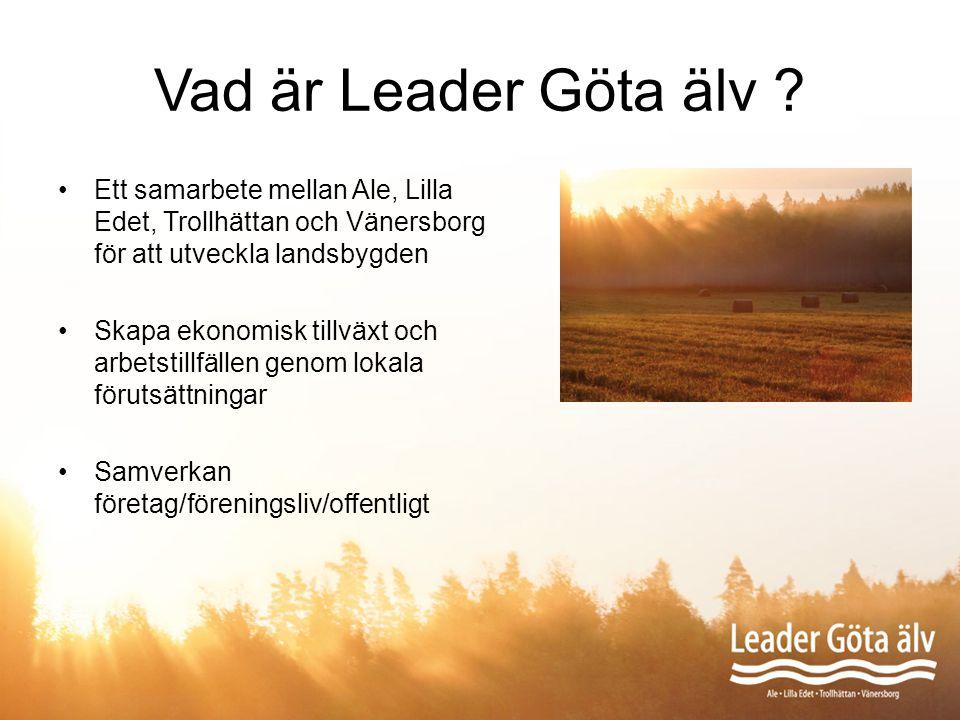 Vad är Leader Göta älv Ett samarbete mellan Ale, Lilla Edet, Trollhättan och Vänersborg för att utveckla landsbygden.