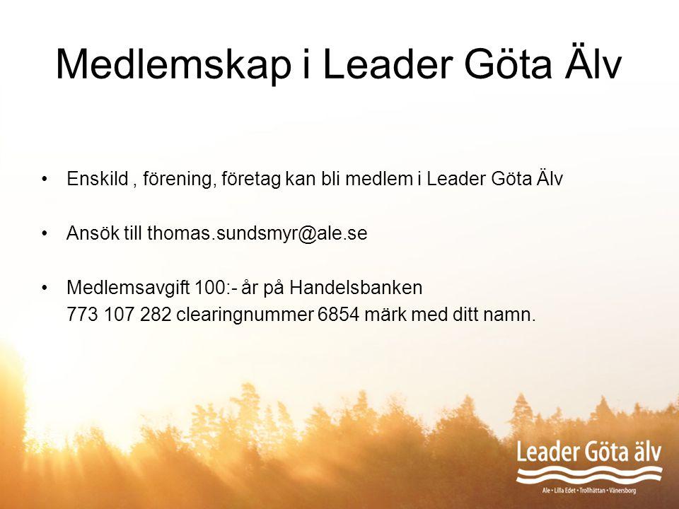 Medlemskap i Leader Göta Älv