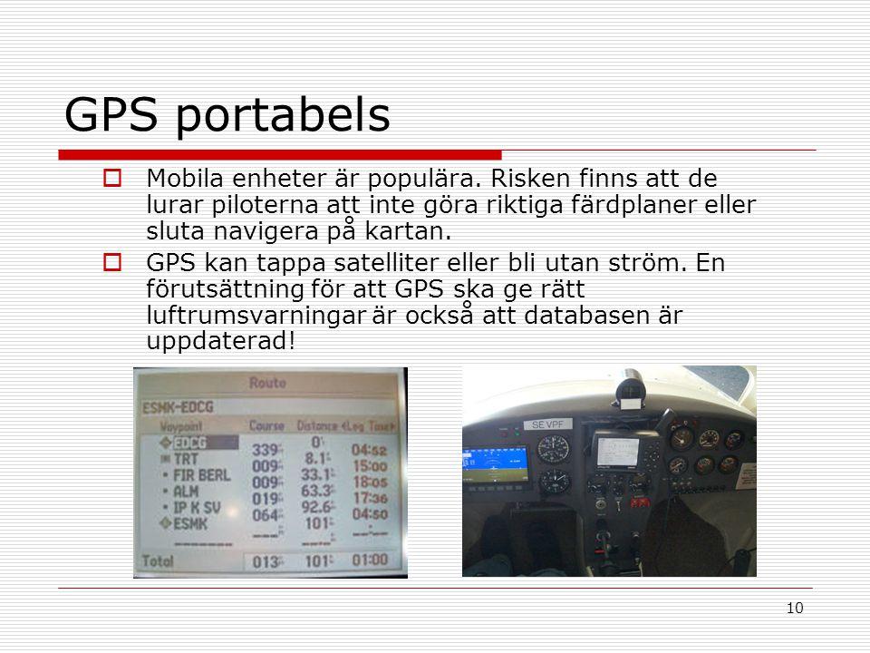 GPS portabels Mobila enheter är populära. Risken finns att de lurar piloterna att inte göra riktiga färdplaner eller sluta navigera på kartan.
