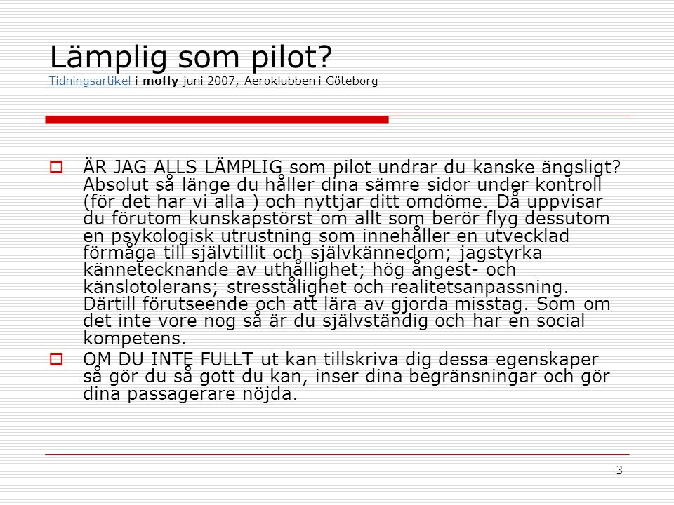 Lämplig som pilot Tidningsartikel i mofly juni 2007, Aeroklubben i Göteborg