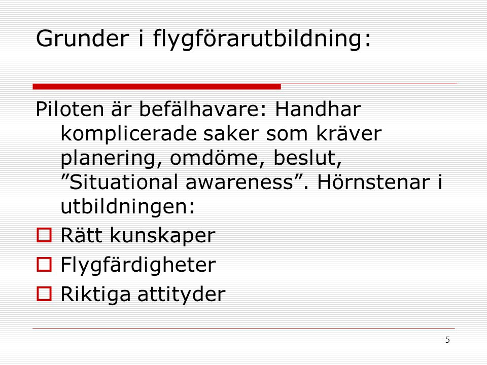 Grunder i flygförarutbildning: