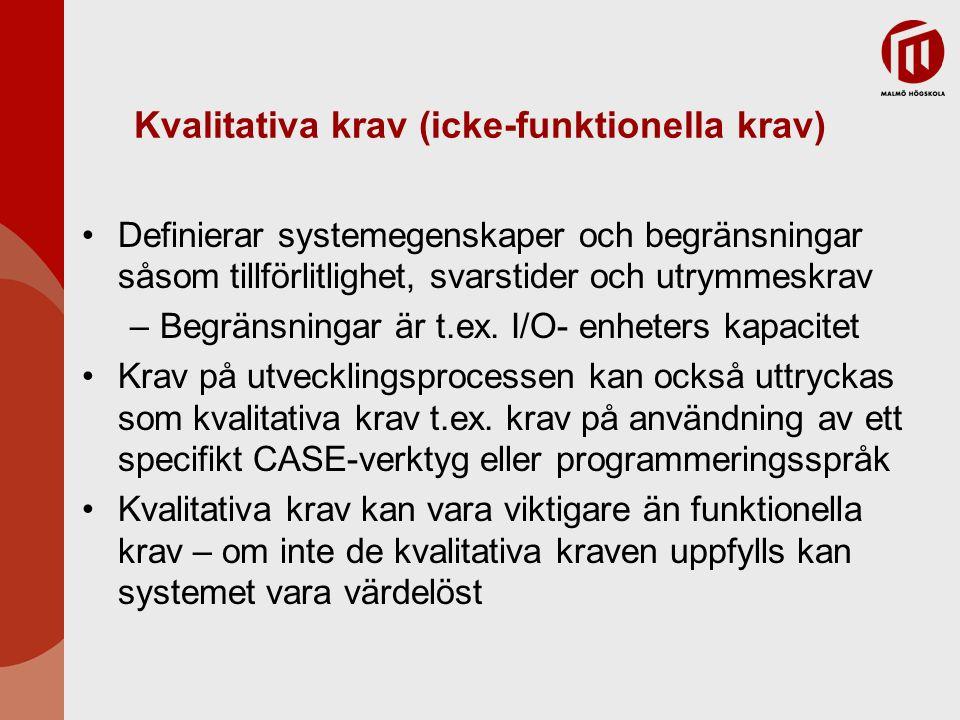 Kvalitativa krav (icke-funktionella krav)