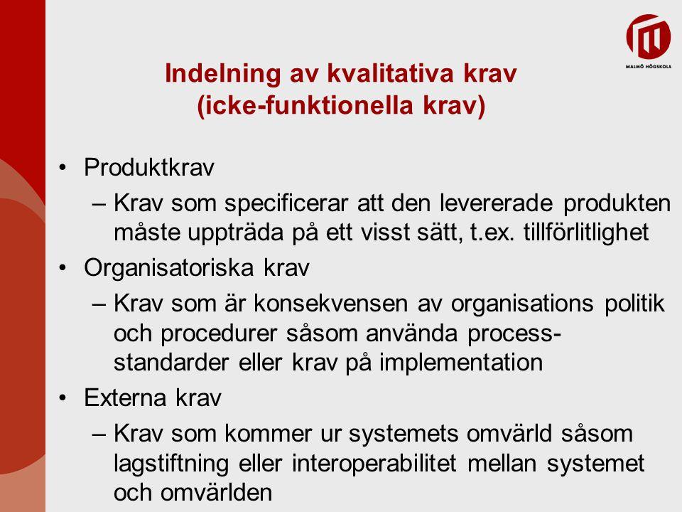 Indelning av kvalitativa krav (icke-funktionella krav)