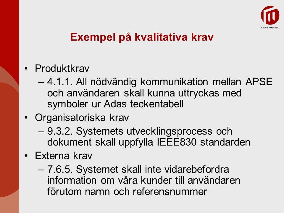 Exempel på kvalitativa krav