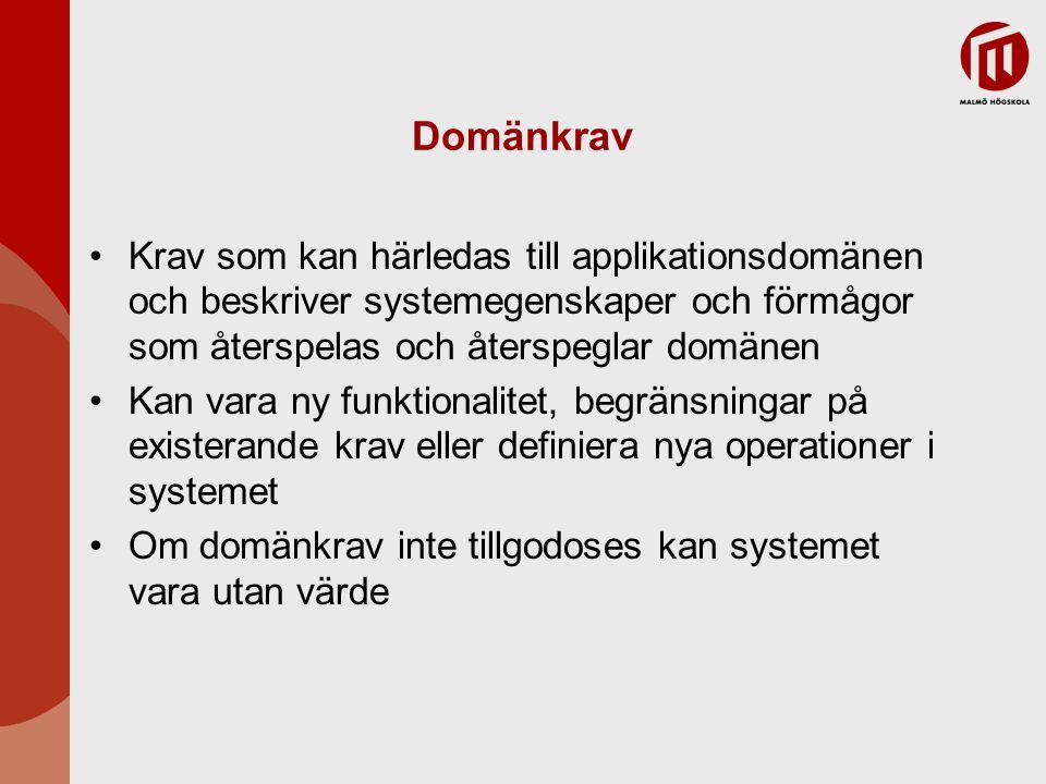 Domänkrav Krav som kan härledas till applikationsdomänen och beskriver systemegenskaper och förmågor som återspelas och återspeglar domänen.