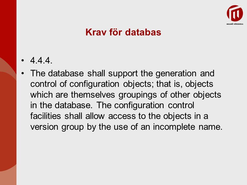 Krav för databas 4.4.4.