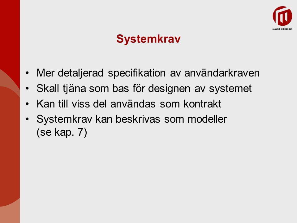 Systemkrav Mer detaljerad specifikation av användarkraven