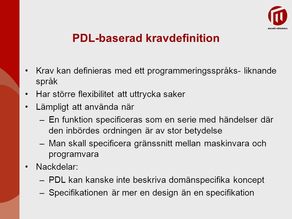 PDL-baserad kravdefinition