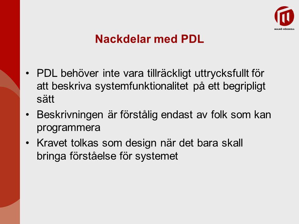 Nackdelar med PDL PDL behöver inte vara tillräckligt uttrycksfullt för att beskriva systemfunktionalitet på ett begripligt sätt.