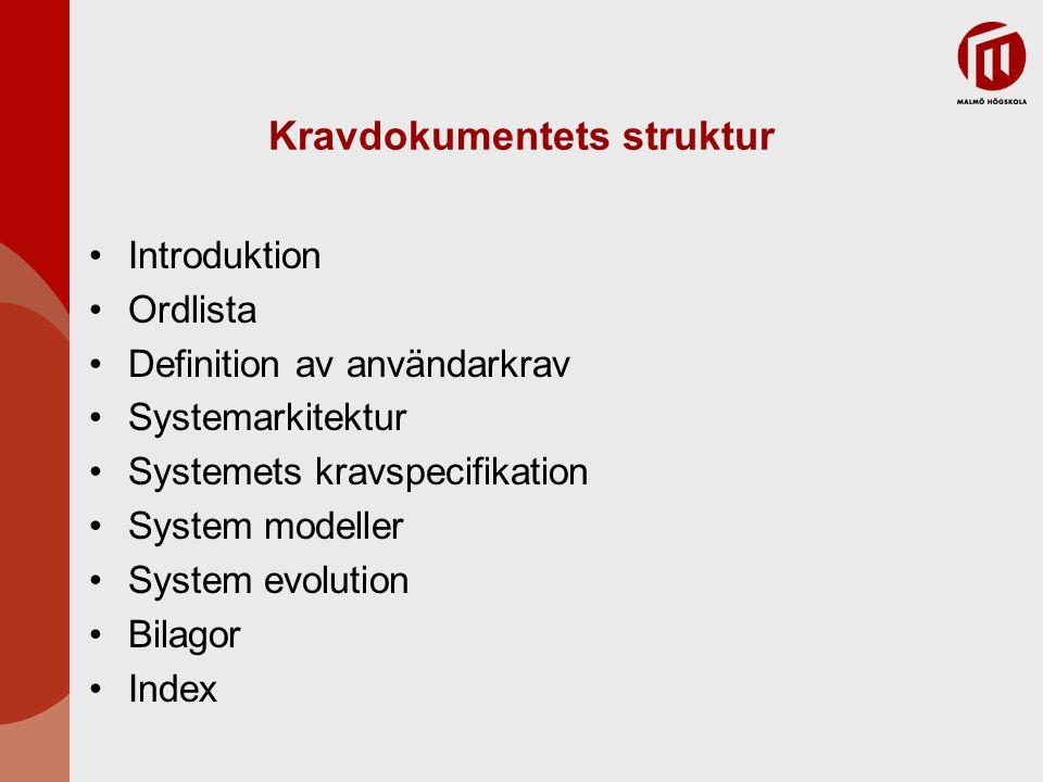 Kravdokumentets struktur