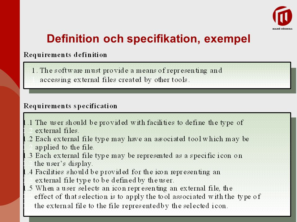 Definition och specifikation, exempel
